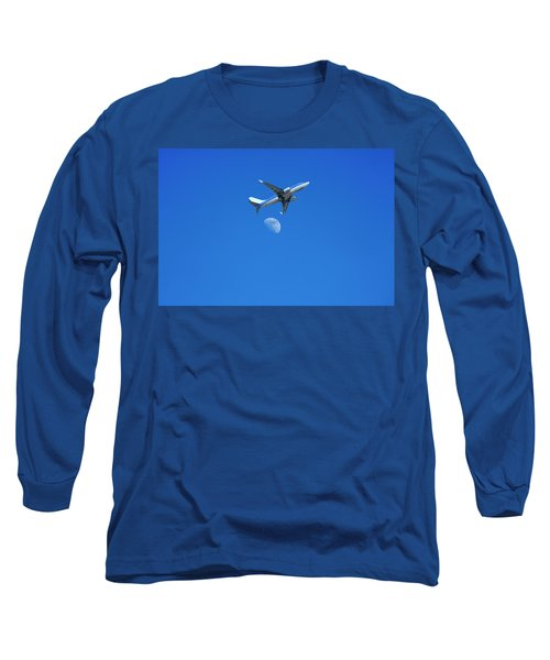 Jet Plane Flying Over The Moon Long Sleeve T-Shirt