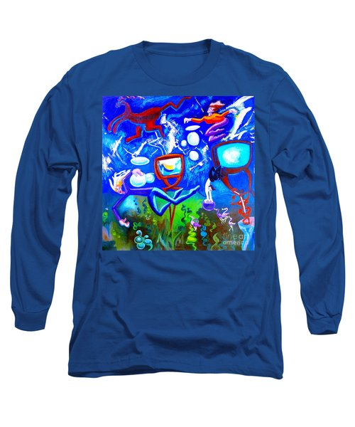 Long Sleeve T-Shirt featuring the painting Jumping Through Tv Land by Genevieve Esson