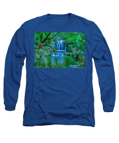 Jungle Water Falls And Parrots Long Sleeve T-Shirt