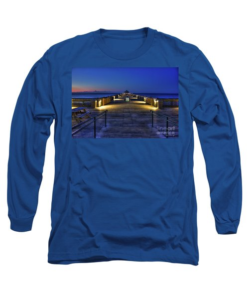 Long Sleeve T-Shirt featuring the photograph Just Before Dawn Folly Beach Pier Charleston Sc Sunrise Art by Reid Callaway
