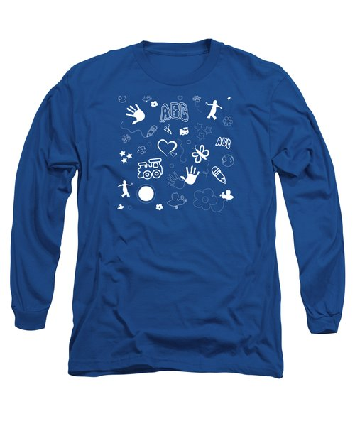 Kids Playful Background Pattern Long Sleeve T-Shirt by Serena King