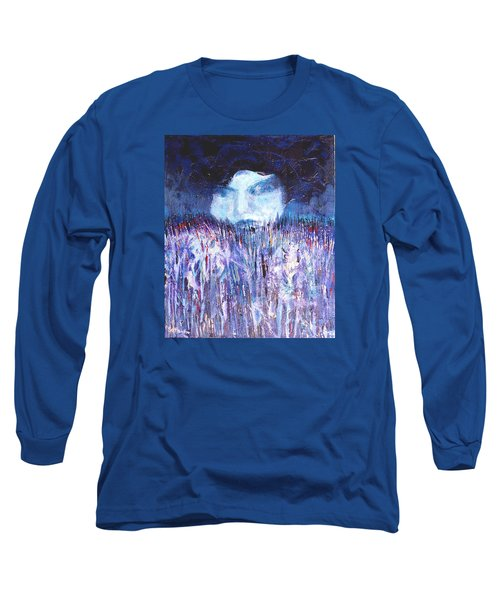 Long Sleeve T-Shirt featuring the painting Kiss Of The Silver Moon by Seth Weaver