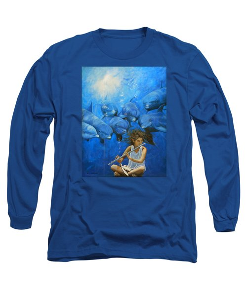 La Flautista Long Sleeve T-Shirt by Angel Ortiz
