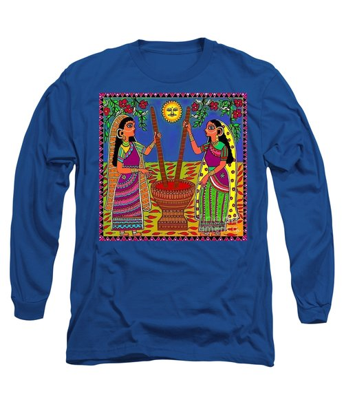 Long Sleeve T-Shirt featuring the digital art Ladies Crushing Chili Peppers by Latha Gokuldas Panicker