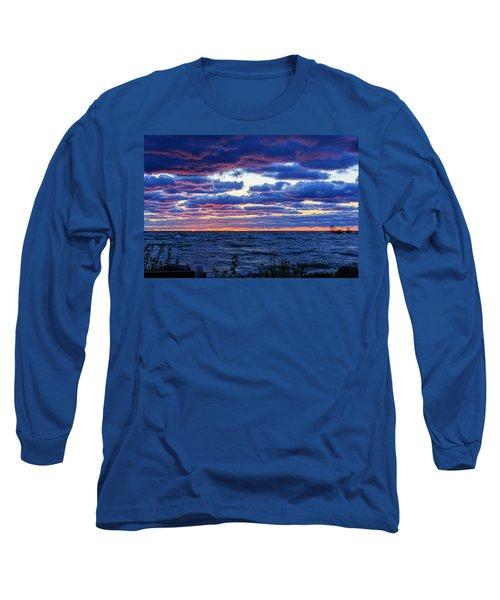 Lake Michigan Windy Sunrise Long Sleeve T-Shirt by Joni Eskridge
