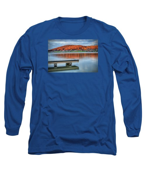 Autumn Red At Lake White Long Sleeve T-Shirt by Jaki Miller