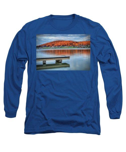 Autumn Red At Lake White Long Sleeve T-Shirt