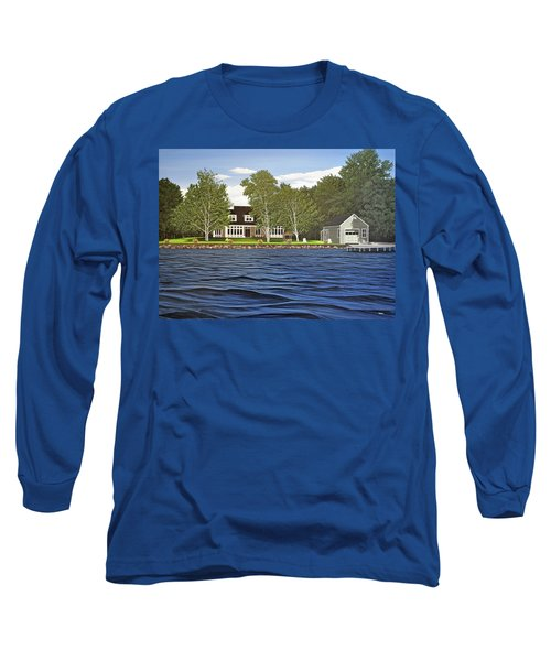 Long Sleeve T-Shirt featuring the painting Langer Summer Home Lake Simcoe by Kenneth M Kirsch