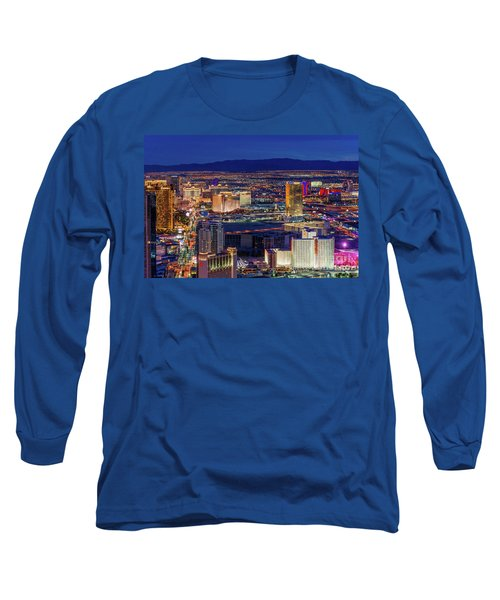 Long Sleeve T-Shirt featuring the photograph Las Vegas Strip From The Stratosphere Wide by Aloha Art