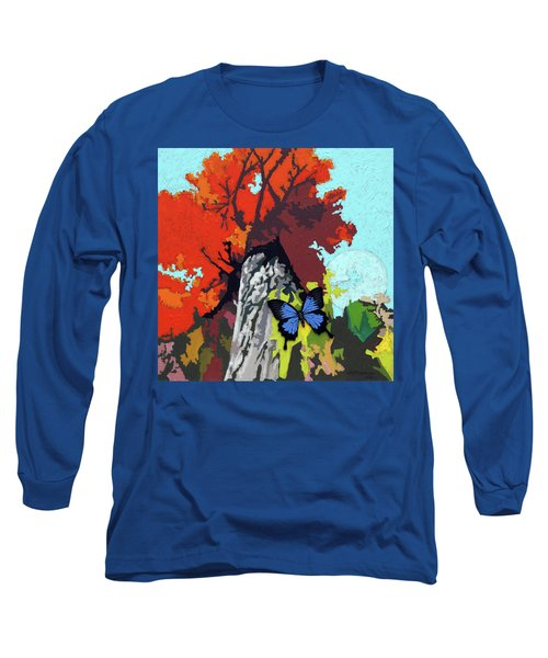 Last Butterfly Before Winter Long Sleeve T-Shirt by John Lautermilch
