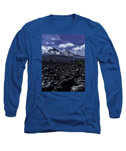 Long Sleeve T-Shirt featuring the photograph Lava Below The Sisters by Nancy Marie Ricketts