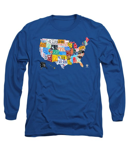 License Plate Map Of The Usa On Royal Blue Long Sleeve T-Shirt