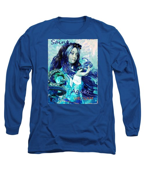 Long Sleeve T-Shirt featuring the painting Light Of Vietnam Saint Agnes by Suzanne Silvir