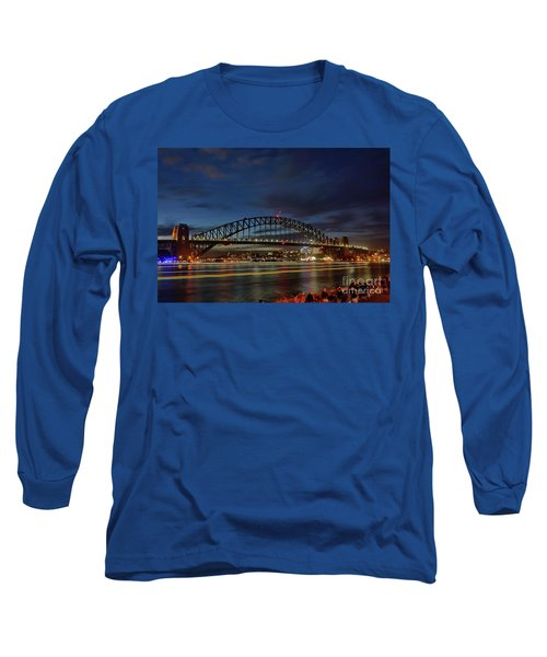 Long Sleeve T-Shirt featuring the photograph Light Trails On The Harbor By Kaye Menner by Kaye Menner