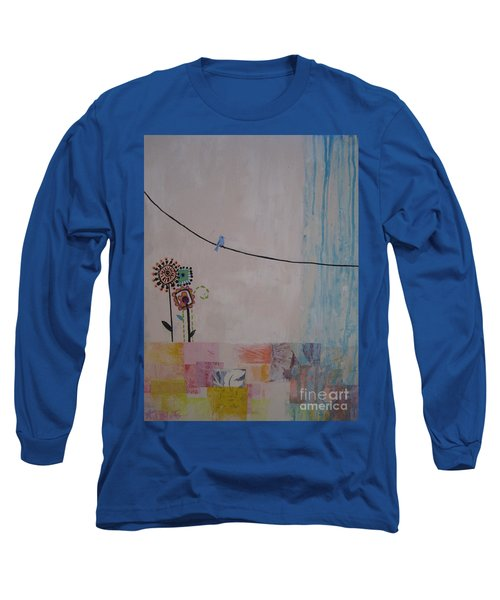 Long Sleeve T-Shirt featuring the painting Little Birdie by Ashley Price