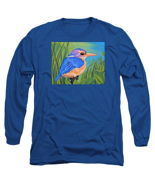 Long Sleeve T-Shirt featuring the painting Litttle King Of The Fishers by Sophia Schmierer