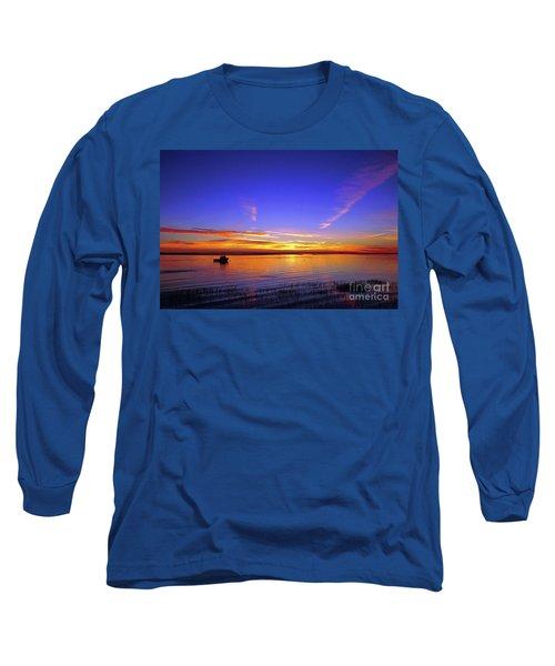 Lobster Boat At Sunrise. Long Sleeve T-Shirt