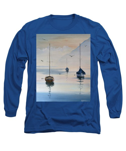 Locarno Boats In February-2 Long Sleeve T-Shirt by David Gilmore
