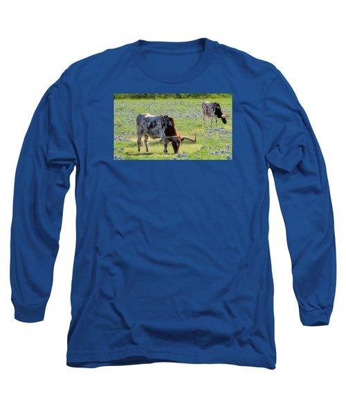 Longhorns In The Bluebonnets Long Sleeve T-Shirt by Janette Boyd