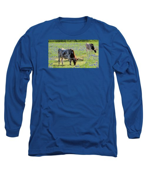 Longhorns In The Bluebonnets Long Sleeve T-Shirt