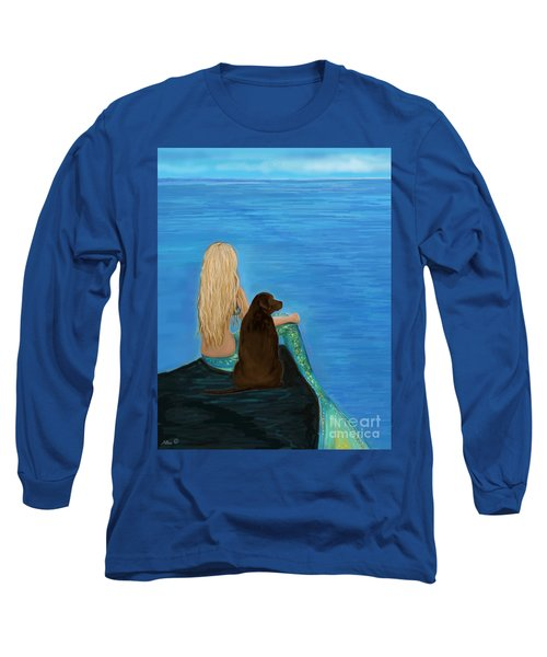 Long Sleeve T-Shirt featuring the painting Loving Lab Loyalty by Leslie Allen