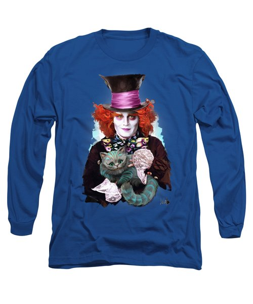 Mad Hatter And Cheshire Cat Long Sleeve T-Shirt by Melanie D