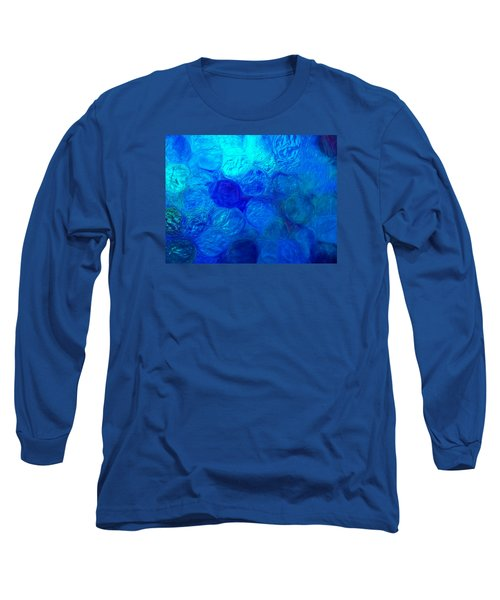 Magnified Blue Water Drops-abstract Long Sleeve T-Shirt