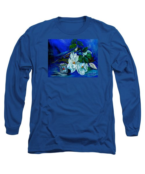 Magnolias And Cream Long Sleeve T-Shirt by Jenny Lee