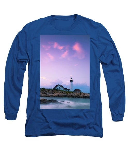 Maine Portland Headlight Lighthouse In Blue Hour Long Sleeve T-Shirt