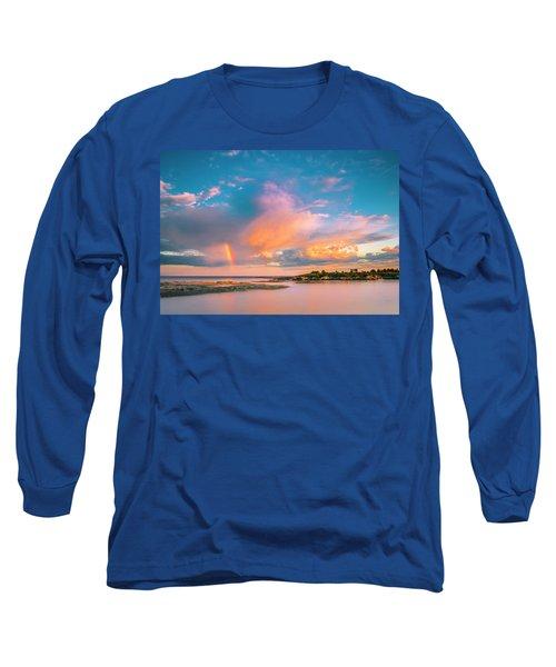 Maine Sunset - Rainbow Over Lands End Coast Long Sleeve T-Shirt