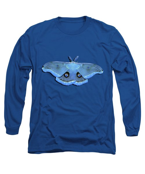 Long Sleeve T-Shirt featuring the photograph Male Moth Light Blue .png by Al Powell Photography USA
