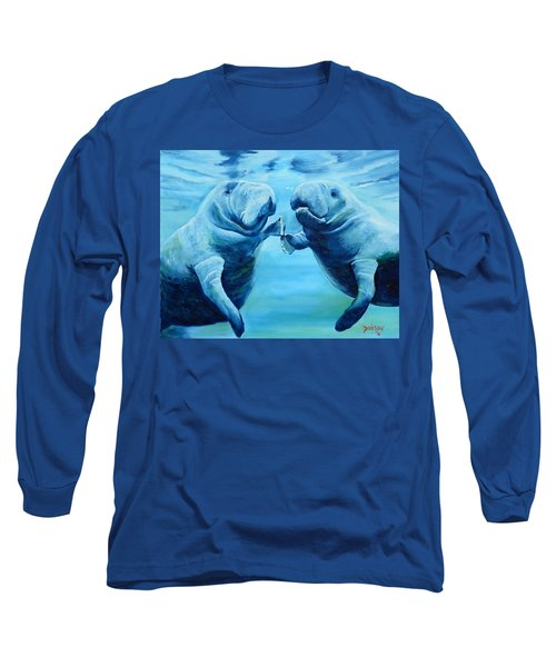 Manatees Socializing Long Sleeve T-Shirt by Lloyd Dobson
