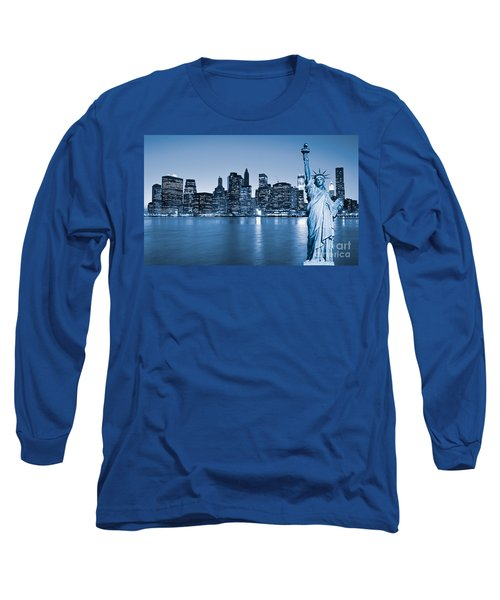 Manhattan Skyline Long Sleeve T-Shirt by Luciano Mortula