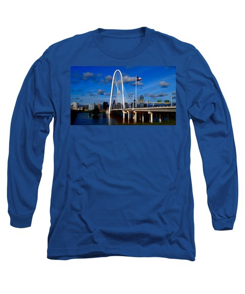 Margaret Hunt Hill Bridge Dallas Flood Long Sleeve T-Shirt