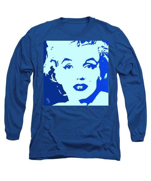 Marilyn Monroe Blue Pop Art Portrait Long Sleeve T-Shirt