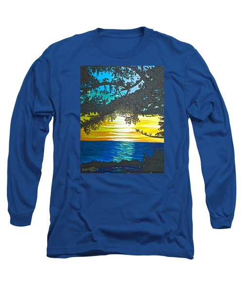 Long Sleeve T-Shirt featuring the painting Maui Sunset by Donna Blossom