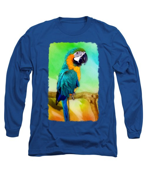 Maya - Macaw Parrot  Long Sleeve T-Shirt by Linda Koelbel