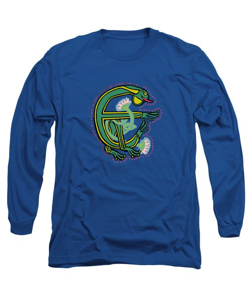 Medieval Frog Letter E Long Sleeve T-Shirt by Donna Huntriss
