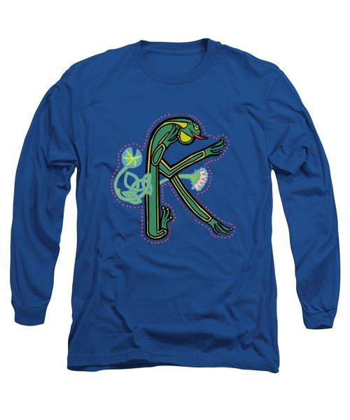 Medieval Frog Letter K Long Sleeve T-Shirt by Donna Huntriss