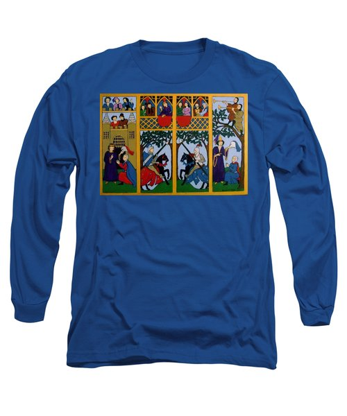 Long Sleeve T-Shirt featuring the painting Medieval Scene by Stephanie Moore