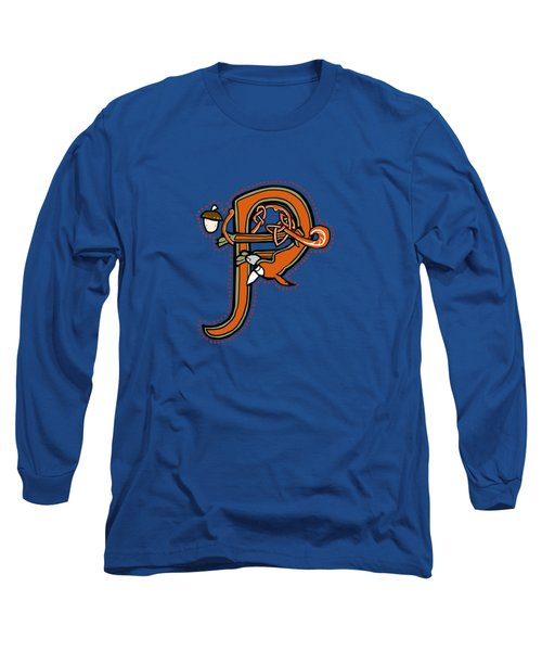 Medieval Squirrel Letter P Long Sleeve T-Shirt