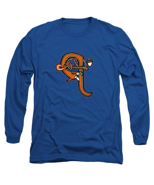 Medieval Squirrel Letter Q Long Sleeve T-Shirt