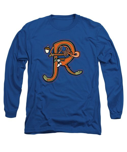 Medieval Squirrel Letter R Long Sleeve T-Shirt