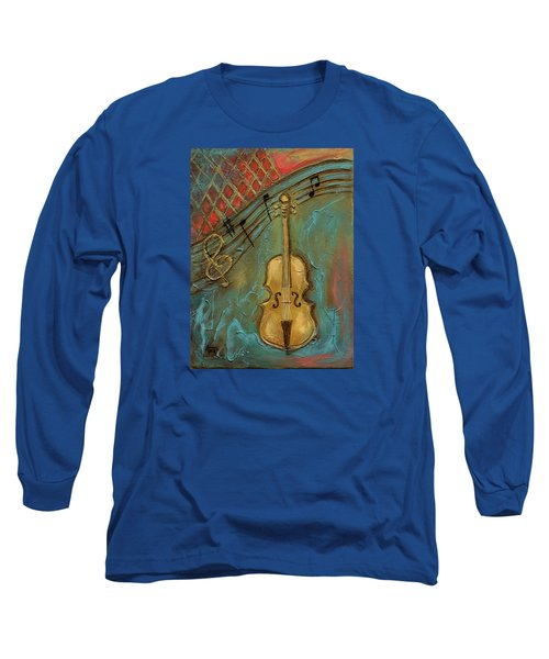 Long Sleeve T-Shirt featuring the mixed media Mello Cello by Terry Webb Harshman