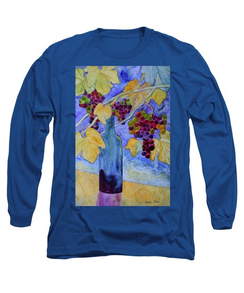 Long Sleeve T-Shirt featuring the painting Merlot by Nancy Jolley