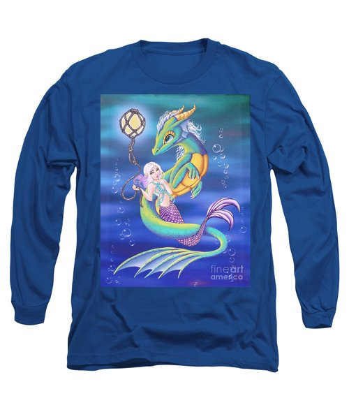 Long Sleeve T-Shirt featuring the painting Mermaid And Sea Dragon by Mary Hoy