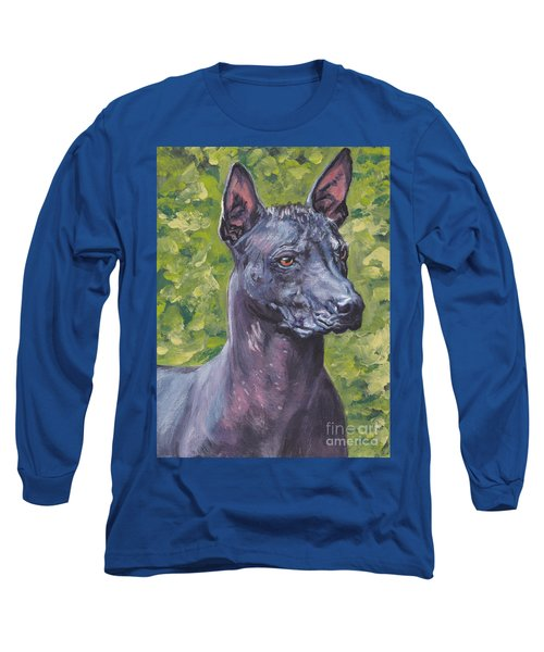 Long Sleeve T-Shirt featuring the painting Mexican Hairless Dog Standard Xolo by Lee Ann Shepard