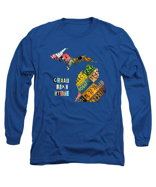 Michigan License Plate Map Great Lake State With Vintage Blue Plate Background Edition Long Sleeve T-Shirt