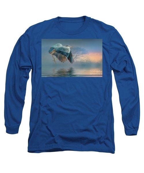 Misty Dawn Heron Long Sleeve T-Shirt