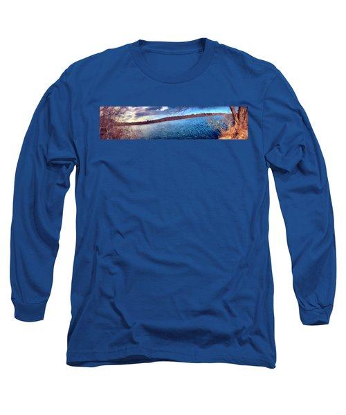 Long Sleeve T-Shirt featuring the painting Mohegan Lake Panoramic Lake by Derek Gedney
